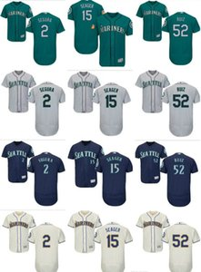 2020 Hot New Custom Majestic Mariners Jersey #2 Jean Segura 15 Kyle Seager 52 Carlos Ruiz Home Green Nary Blue White Baseball Jerseys