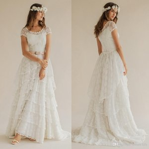 Bohemian Vintage 2021 Summer Beach Wedding Dresses Boho Lace Scoop Short Sleeves Tiered Long Bridal Gowns