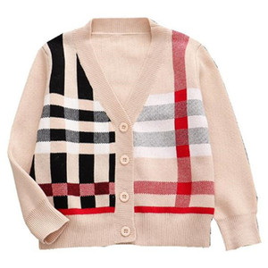 toptan çocuk giyim dış giyim kış tasarımcı moda çocuk örme kazak çocuklar V yaka örgü şerit ceket kız bebek için hırka