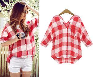 New women's plaid shirt casual oversized women's bottom shirt + size V collar summer fashion jacket M-5XL
