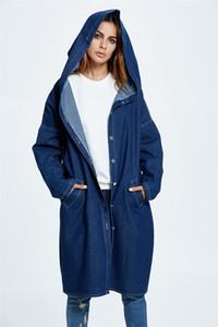 Womens Designer Denim Trench manches longues Fashion Veste à capuchon simple boutonnage Jeans Veste