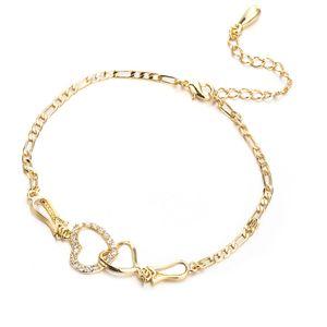 Bracciale catena oro giallo placcato CZ doppio cuore del calzino di estate delle donne Gioielli per ragazze Donne per la festa nuziale HN207