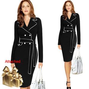 Женские костюмы Blazers платье женщины 2021 осень мода тонкий портной воротник двойной погруженный карманный шнурок вверх белый край свободный- HJH-17102508