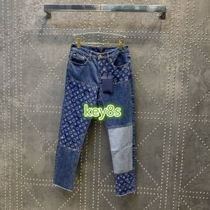 2020 high end women girls denim pant jeans casual put together letter print hole skinny slim pencil pants top fashion women trousers