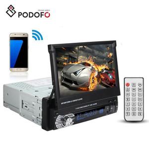 "Podofo Car DVD Estéreo Audio Radio Bluetooth 1Din 7 ""HD Panel frontal retráctil Monitor de pantalla táctil SD FM USB Reproductor MP5"