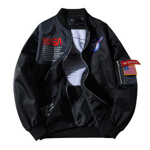 Casual para hombre otoño invierno Bombardero Negro flojo chaqueta abrigos color del contraste del remiendo Hombre Otoño Invierno Abrigos