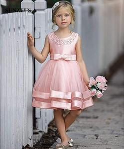 Una línea de longitud de la rodilla rosa vestidos de flores niña con cuentas escote de la blusa de satén tul falda de los niños del desgaste formal del arco del vestido de partido de Childern