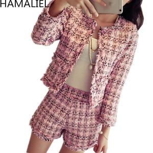 Hamaliel S-XXL Plus Size Outono Inverno Mulheres Tweed 2 Piece Set 2019 Moda de Slim Pink Plaid Tassel revestimento do revestimento + ternos curtos Y200110