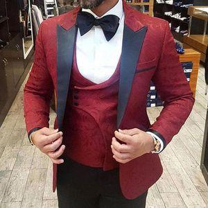 Été 2019 bourgogne costumes pour hommes 3 pièces Slim Fit marié smokings pour homme costumes de mariage bureau formel Blazer (veste + veste + pantalon)