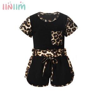 Imprimir roupas de verão da criança do bebê infantil Bebés Meninas Leopard Conjuntos de manga curta T-shirt e calções Treino Sweatsuit Set