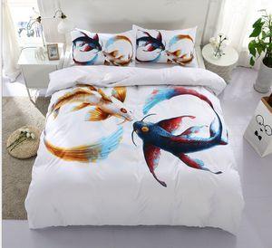 3D 인쇄 커플 물고기 2/3 PC 침구 세트 동물 Duvet 커버 PillowcaseFor 트윈 전체 퀸 킹 모든 크기
