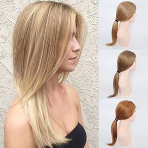 KISSHAIR anteriore del merletto capelli dritti umani parrucche * 4 pizzo chiusura # 8 della cenere marrone # 27 blonde di miele # parrucca di capelli umani brasiliani 4 30 medie Auburn