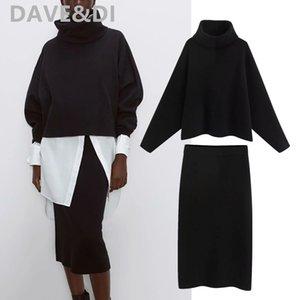 Davedi Inglaterra señora de la oficina suéteres de cuello alto sencilla mujeres y mujeres de la falda midi tejer faldas de mujer moda 2020 2 piezas conjunto