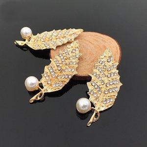 10 UNIDS 25mm * 55mm Fashion Metal Alloy Gold Rhinestone Pearl Leaf Connectors Charm Para La Fabricación de Joyas