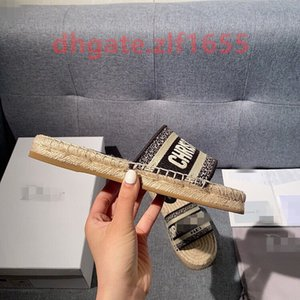 Christian Luxury designer Baotou Straw Fisherman Shoes 2020 Summer sandals Linen Rope Slipper Women Flat Bottom Muller shoes CD slides