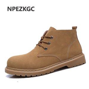 QFFAZ Uomo Primavera Autunno PU Leather Vintage Stivali da uomo Scarpe da uomo Stivali da neve Botas