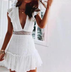 Col sexy robe d'été luxe dentelle dentelle dames shorts décontractés robe de designer femmes mode blanc v