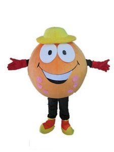 2019 High quality hot an orange ball mascot cosutme with yellow hat for adult to wear for sale