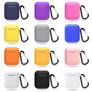 Дешевые силиконовые воздуха стручки крышки случая с брелоком для компании Apple Earpods Case Пряжки Air Pod I Phone 11 Pro Wireless Eaphone Уха почки