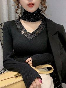 Yeni Kış Seksi Kalın Triko Bayan Long-Sleeve Triko dibe Gömlek Halter Üst Bayanlar BODYCON T Stretch Sweter Jumper Üst