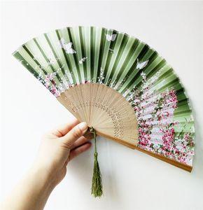 11 colores de estilo japonés Ventiladores Ventilador de seda femenino de Peony chino Pintura aficionados Cuadro retro seda Hold Partido plegable T1I1757 favor