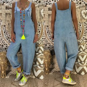Jeans Femme Jeans Jumpsuit Pantalon à bretelles Salopette à jambes larges Combinaisons