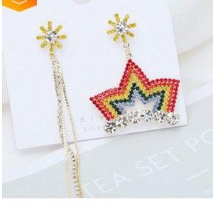 2pairs / lots de eariings de mode coloré de belle qualité cristal de diamant asymétrique en argent fin 925 personnalisé dame