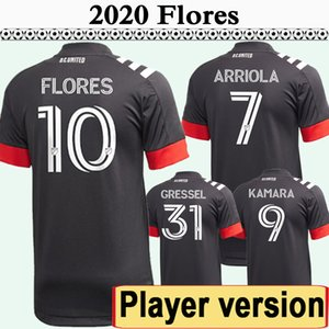 2020 игрока версия Arriola Kamara Flores Mens DC Soccer Thereys Новый D.C. United Gressel Home Черная футболка рубашка с коротким рукавом