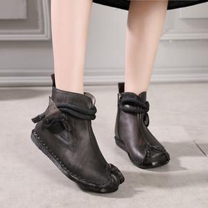 2018 VALLU Nuevo Original Vintage Zapatos Mujer Botines de Cuero Genuino Mano Costura Cremallera Lateral Suave Confort Señoras Botas Planas