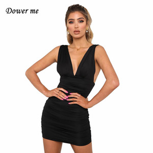 Dower Me Deep V Vestido De Verão Na Altura Do Joelho-estilo Clube Tanque Sólidos Roupas Femininas Sem Mangas Lote Branco Curto Paty Vestido Y006 Y19071001