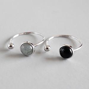 Nuevo estilo simple 925 cuentas redondas de plata esterlina negro ágata luna piedra anillos de tamaño abierto para mujeres declaración anillo ajustable