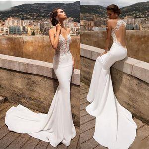 Sexy Mermaid Robes De Mariée Dentelle Dentelle Dentelle Col V Couleur Appliqué Train De Mariée Robe De Mariée Robes de mariée Robe de Mariée Vestidos de Noiva