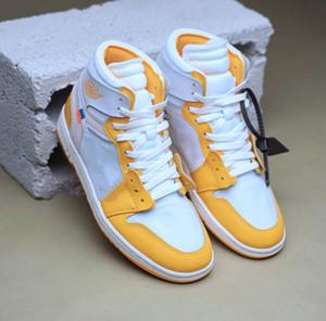 1 alta canário amarelo UNC 1 Shoes Poder amarelo amarelo Basquetebol retro para mulheres dos homens das sapatilhas com caixa