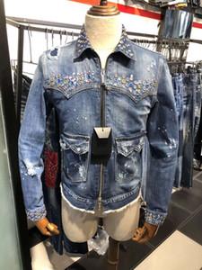 dsquared2 jeans dsq d2 DSQ Mens Fashion Boutique casacos tendência carta lavado DD2 jaqueta jeans casal de estudantes com o mesmo ponto C18
