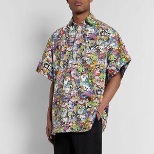 20SS Full Printed Cute Cartoon Tee T-Shirt Fashion Casual High Street Skateboard Short Sleeves Men Women Summer Shirt Tee Oversize HFYMTX798