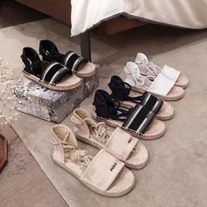 منصة مصمم الصنادل عارضة أزياء الصيف الأبجدية الأحذية صياد امرأة الأحذية الفاخرة حبل القنب العشب الصنادل المنسوجة حجم كبير 35-42 41