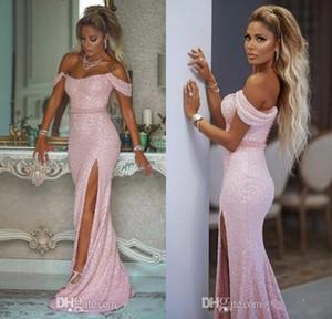 Sparkly Sexy Sheath 2019 vestidos de noche con lentejuelas de alta dividida Sexy vestidos de baile Barato con cuentas de alta Dama de honor partido formal vestidos de fiesta