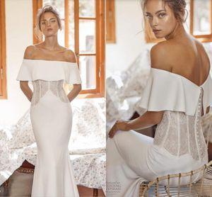 Кружевные пятна русалки свадебные платья 2020 шикарные Lihi HOD с плечо покрыты на плечо Крышки труба пляж Boho Свадебные платья
