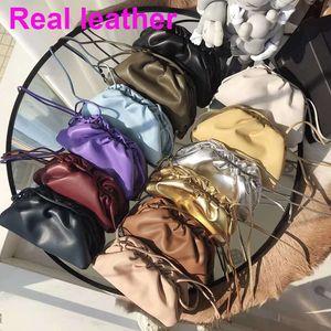 de alta calidad de cuero genuino con pliegues suaves bolas de masa de hombro grandes mujeres bolsa de mensajero bolsa de embrague bolso femenino diaria