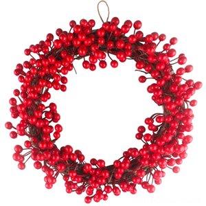 Garland Diğer Festive Asma 30-40cm Noel Red Berry Çelenk Kapı Duvar Şenlikli Parti Dekoru Parti Düğün Malzemeleri