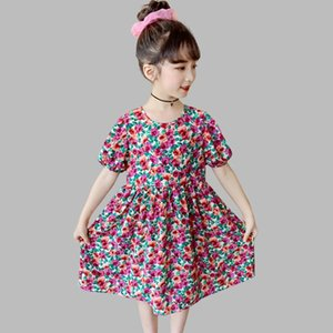 Summer Dress Girl Floral Pattern Girl Child Dress O Neck Party For Children Casual Costume For Girls 6 8 10 12 14