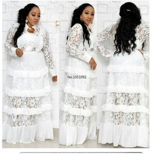 Big size New style classic African women's Dashiki fashion Lace edge stitching long dress size L XL XXL XXXL
