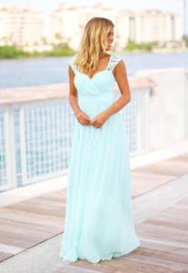Onur Elbise İçin Annelik BC1480 Ucuz Nane Yeşil Long Beach Gelinlik Modelleri Country Style Kat Uzunluk Backless Hamile Hizmetçi