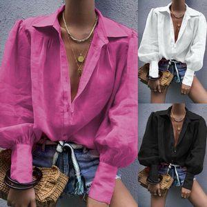 Las mujeres con cuello en V tapas de la camisa informal Llanura blusa suelta de manga larga Tops Otoño de manga farol camisas