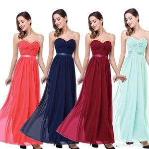 Em Stock baratos vestidos de dama de honra para casamentos Longo Chiffon A-Line querida empregada doméstica de vestidos de honra que Wedding o partido do cliente CPS263