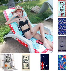 여름 해변 수건 마이크로 화이버 비치 타월 성인 영국 국기 유로 인쇄 된 코튼 비치 목욕 Unisex Towel