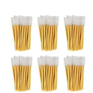 1000pcs / lot Gold-Stick Einweg Mascara-Stab-Applikatoren Lash Nylon Make-up Pinsel Wimpernverlängerung Makeup accessorices