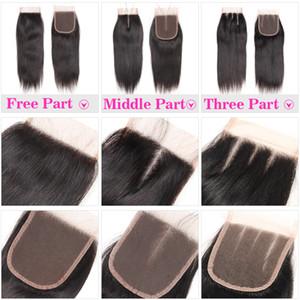 100% de cierre de encaje 4X4 cabello humano con Bebé del pelo recto brasileño Cierre del cuerpo del pelo de la onda tapa del cordón libre Medio de tres partes peruana de Malasia