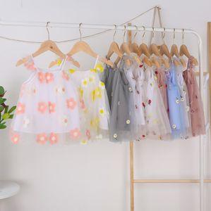 INS tutú de los bebés Slip Party del vestido del verano de los niños honda de la gasa del chaleco vestidos de encaje elegante agárico piña flor del bordado de la falda 9 colores