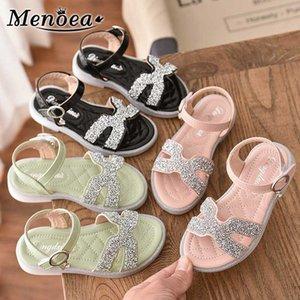 Menoea 26-36 Детские сандалии 2020 летние девушки сандалии малышей девушки принцессы обувь Детская Повседневный Квартиры блестит Детская обувь